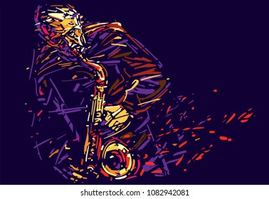 Jazz saxophone player. Colorful abstract vector illustration for jazz poster. EPS 10 format.