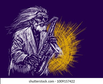 Jazz saxophone player jazz musician saxophonist abstract line grunge style color illustration festival poster
