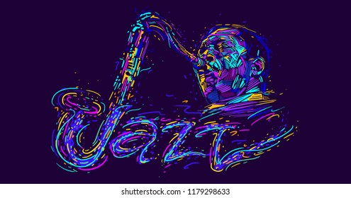 Jazz saxophone player jazz musician saxophonist abstract color vector illustration with large strokes of paint and handwritten text