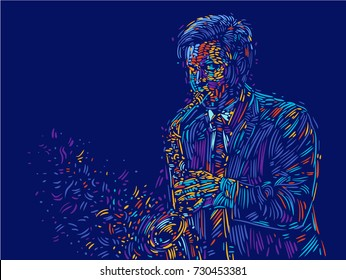 Jazz saxophone player jazz musician saxophonist abstract color vector illustration with large strokes of paint