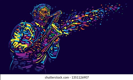 Jazz saxophone player. Vector color abstract illustration for jazz poster.
