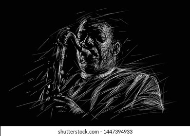 Jazz saxophone player. Vector sketch style illustration for jazz poster.
