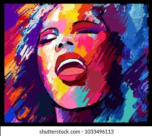 Jazz singer on a grunge background - vector illustration