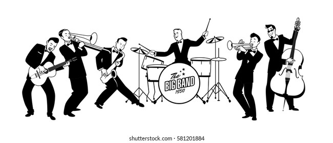 Jazz Swing Orchestra. Retro style. Cartoon vector illustration. 50's or 60's style musicians
