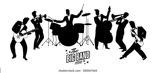 Jazz Swing Orchestra. Silhouettes vector illustration. 50's or 60's style musicians