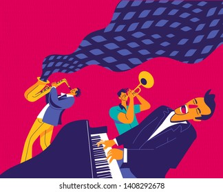 Jazz trio. Funky musicians with saxophone, trumpet and piano. Modern flat colors illustration.