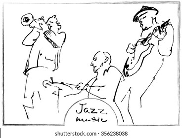 Jazz trio silhouettes with frame and text