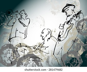 Jazz trio silhouettes on the color background with texture.