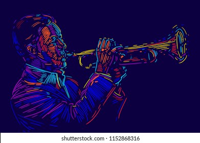 Jazz trumpet player. vector illustration for jazz poster.