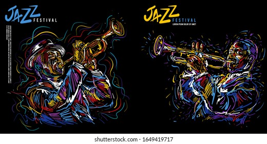 Jazz trumpet player. Vector illustration for jazz poster
