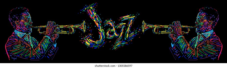 Jazz trumpet players with abstract jazz text. vector illustration for jazz festival. Music background
