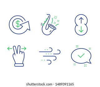 Jazz, Windy weather and Touchscreen gesture line icons set. Dollar exchange, Scroll down and Approved signs. Saxophone, Wind, Swipe. Money refund. Business set. Line jazz outline icons. Vector