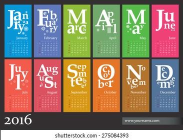 Jazzy calendar 2016 - multicolor vector template (for print, web)
