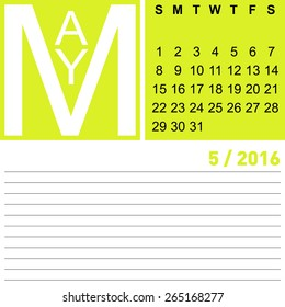 jazzy monthly calendar May 2016, vector, eps10