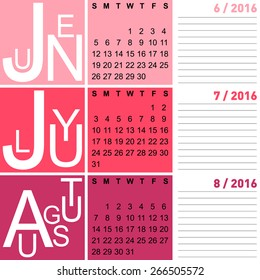 jazzy seasonal calendar summer 2016 including june, july and august, vector, eps10