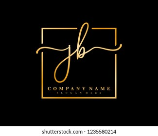 JB Initial handwriting square minimalist logo vector