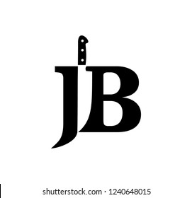 JB initial logo with knife negative space