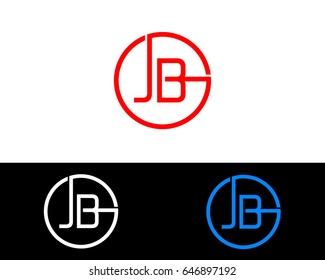 Jb Logo. Letter Design Vector with Red and Black Gold Silver Colors