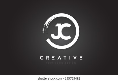 JC Circular Letter Logo with Circle Brush Design and Black Background.