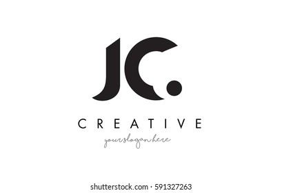 JC Letter Logo Design with Creative Modern Trendy Typography and Black Colors.