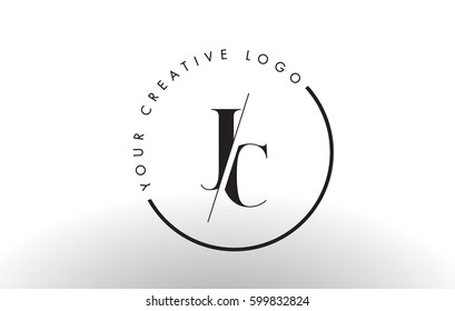 JC Letter Logo Design with Creative Intersected and Cutted Serif Font.