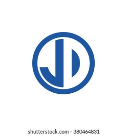 JD initial letters circle business logo blue