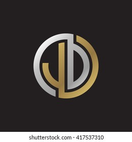 JD initial letters looping linked circle elegant logo golden silver black background