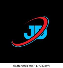 JD J D letter logo design. Initial letter JD linked circle uppercase monogram logo red and blue. JD logo, J D design. jd, j d