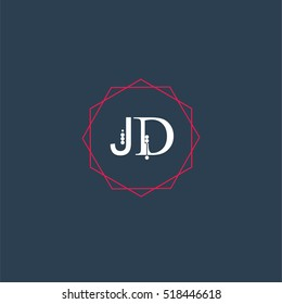 jd logo initial Letter, Abstract Polygonal Background Logo, design for Corporate Business Identity,flat icon, Alphabet letter