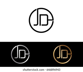 Jd Logo. Letter Design Vector with Red and Black Gold Silver Colors
