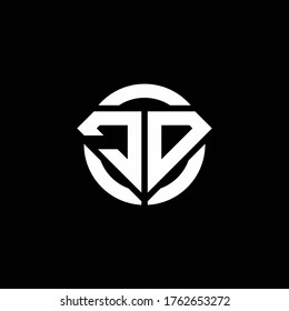 JD monogram logo with diamond shape and ring circle rounded design template