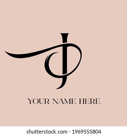 JD monogram logo.Calligraphic signature icon.Letter j and letter d intertwined.Lettering sign isolated on light background.Uppercase wedding alphabet initials.Elegant, luxury style.