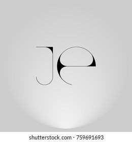 JE Black thin minimalist LOGO Design with Highlight on Gray background.