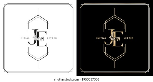 JE or EJ initial letter and graphic name, JE or EJ Monogram, for Wedding couple title, logo company and icon business, with three colors variation designs of isolated white and black backgrounds.