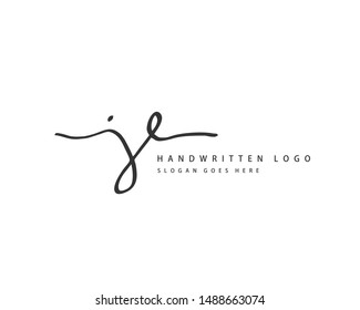 JE Initial handwriting or handwritten logo for identity. Logo with hand drawn style.