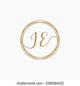 JE Initial Handwriting logo template, Creative fashion logo design, couple concept -vector