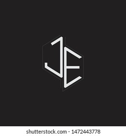 JE Initial Letters logo monogram with up to down style isolated on black background