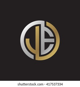 JE initial letters looping linked circle elegant logo golden silver black background