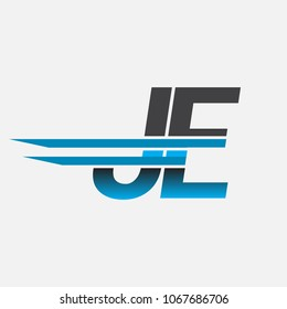 JE initial logo company name colored black and blue, Simple and Modern Logo Design.