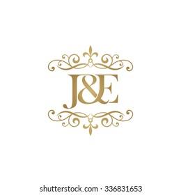 J&E Initial logo. Ornament ampersand monogram golden logo