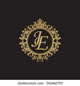JE initial luxury ornament monogram logo
