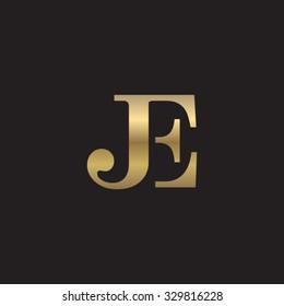 JE initial monogram golden logo