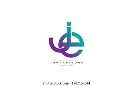 JE initials monogram letter text alphabet logo design