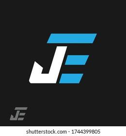 JE or J E letter alphabet logo design in vector format.