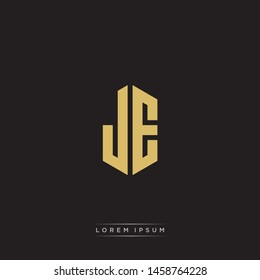 JE J E Logo Emblem Hexagon Capital Letter Modern Template