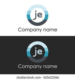 JE letter a circle shape icon logo white blue