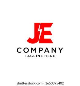 JE letter electric logo design. Red color.