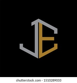 JE Letter monogram with abstrac concept style design