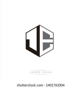 JE Logo Initial Monogram Negative Space Design Template With Black and Grey color