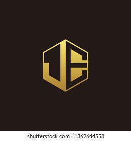 JE Logo Monogram with Negative space gold colors